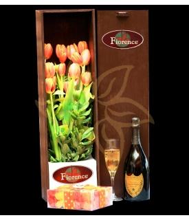 Caja de madera con Tulipanes