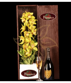 Beautiful wooden box with gorgeous Cymbidium Orchid
