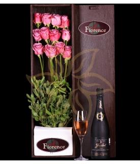 Caja de madera con Rosas Lavanda