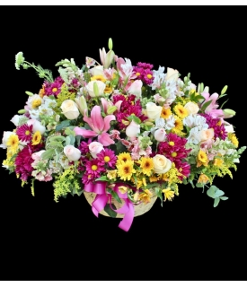 multicolor basket flowers