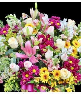 flores multicolor canasta